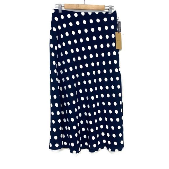 Halogen   Navy & White Dot Skirt